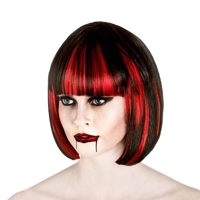 offizieller Preis immer beliebt neue angebote Damen Vampir Schwarz und Rot Halloween-Perücke