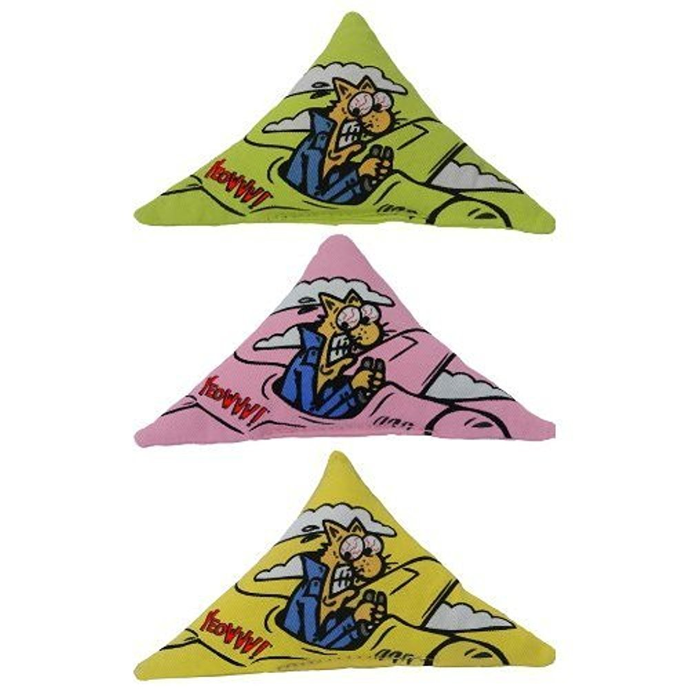 Purrr -Muda Triangle Speciality Pack  Contains Yeowww  100% Organic Catnip Purrr -Muda Triangles (1 each pink, green, yellow)