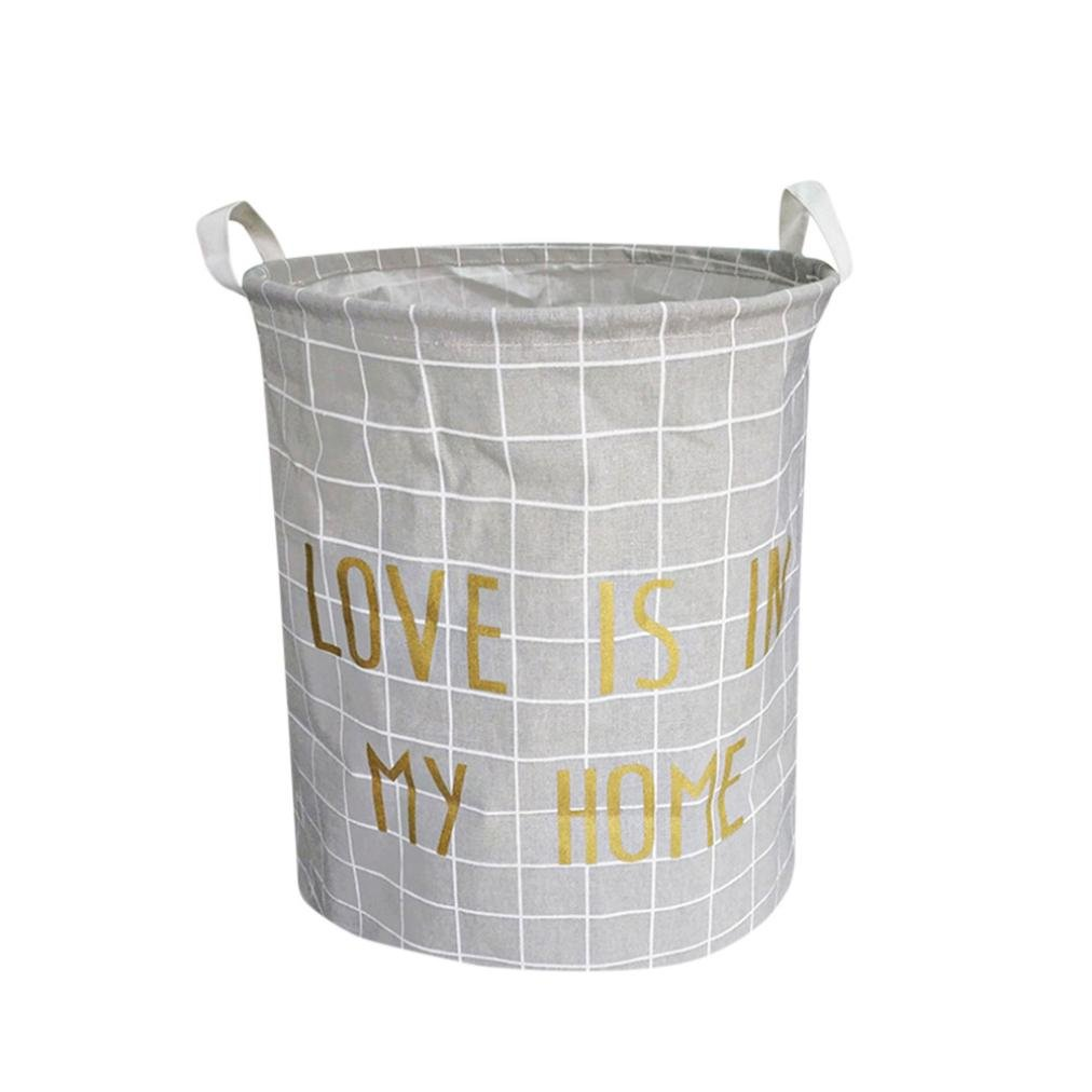 Waterproof Canvas Storage Basket Large Size Storage Binorganer with Handles by Qisc (Multicolor E)