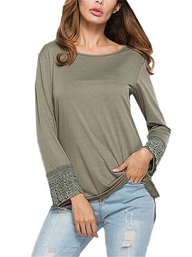 Gogofuture Clasicos T-shirt Mujeres Cuello Redondo Blusas De Encaje Flores Lace Crochet Joven Camisa...