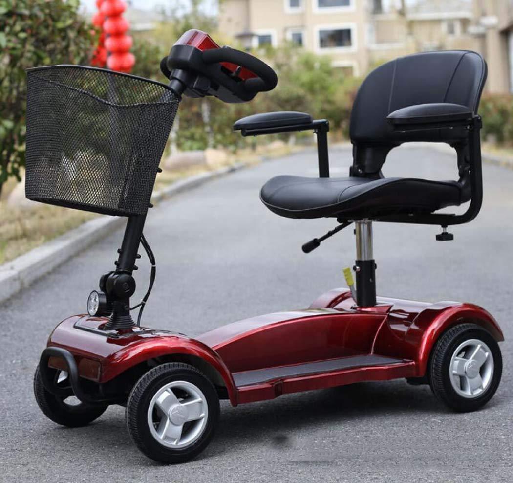 電動車いす、折りたたみ式軽量車いす(トイレ付)、高齢者用スクーター (色 : 赤, サイズ : A) B07HF64ZWG A|赤 赤 A
