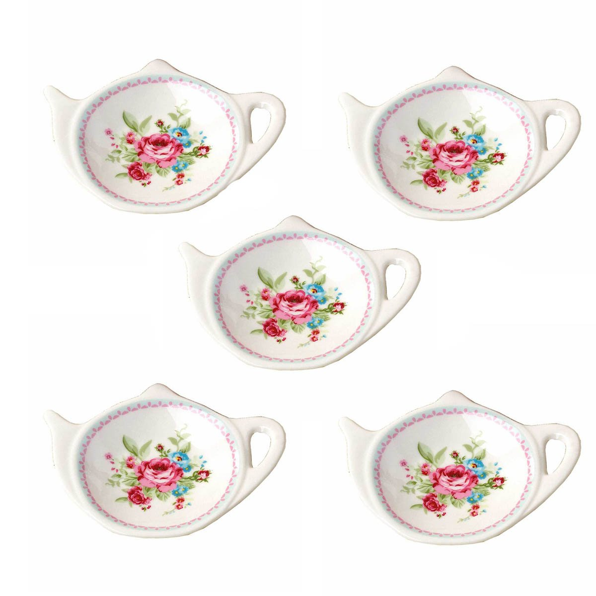 Set of White Porcelain Ceramic with Flower Trim Teapot-Shaped Tea Bag Holder Tea Bag Coasters, Spoon Rests; Classic Tea Time Saucer Seasoning Dish Set (TYGZ)