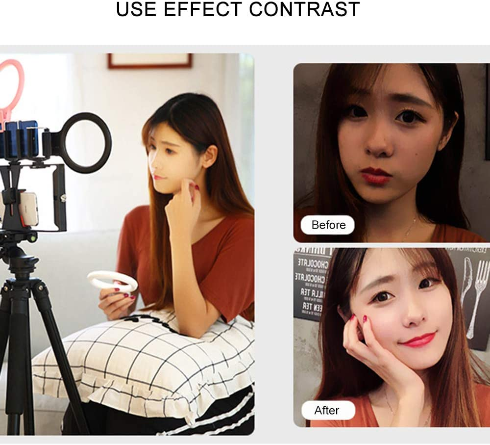 Yuabbbo Selfie Ring Light for Live Shooting with 3 Light Modes Dimmable Desk Makeup Ring Light for Photography