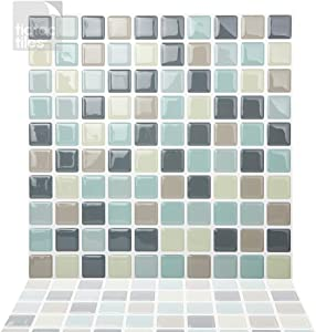 Tic Tac Tiles Peel and Stick Self Adhesive Removable Stick On Kitchen Backsplash Bathroom 3D Wall Tiles in Mosaic Designs (Mintgrey) (5)