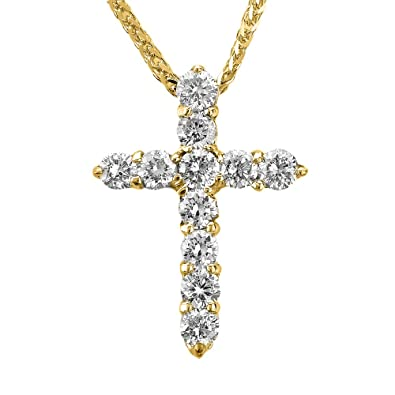 Amazon.com  Fine 14k Yellow Gold Round Diamond Cross Pendant ... 7415c7564bd0
