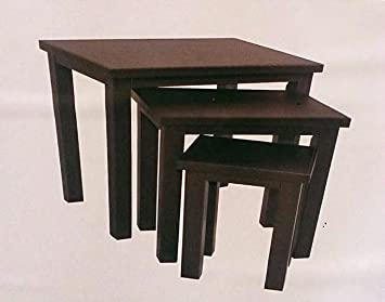 Living faux leather set of 3 nest tables dark brown coffee end living faux leather set of 3 nest tables dark brown coffee end tables watchthetrailerfo