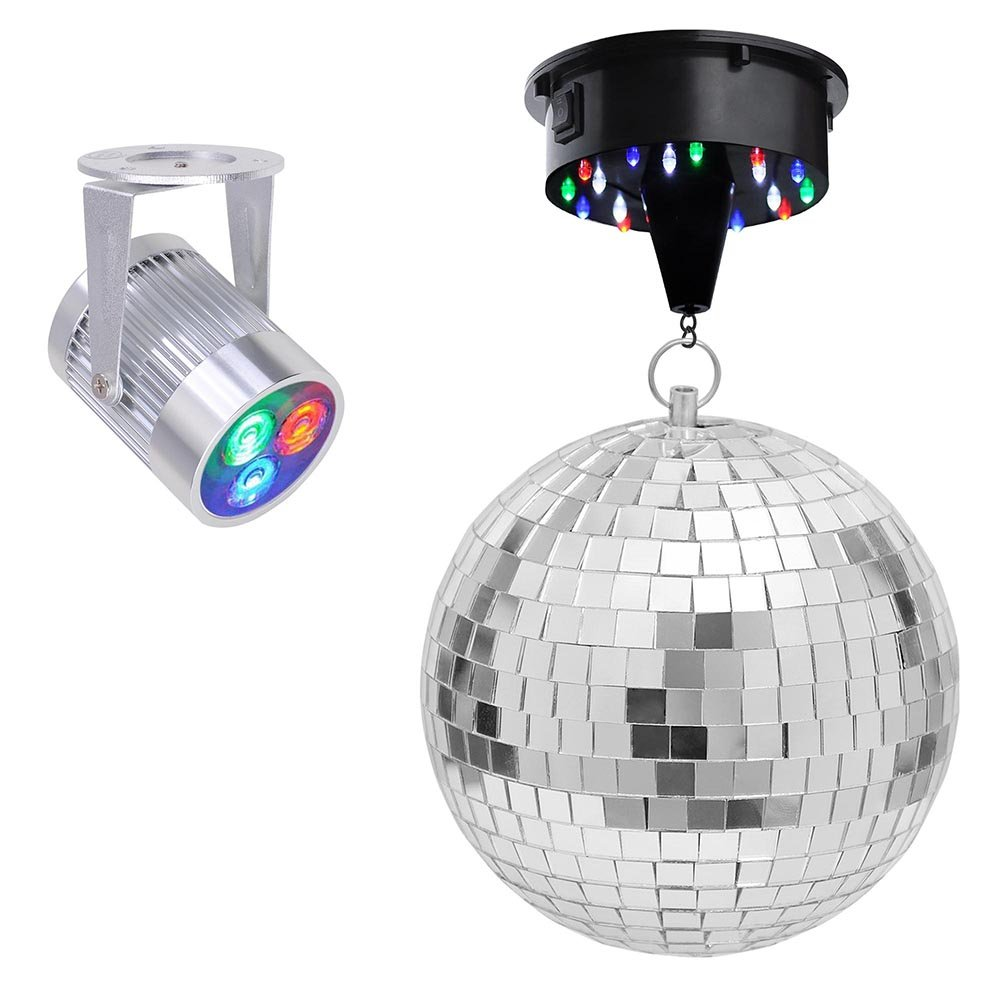 Yescom 12'' Mirror Disco Ball w/ Rotating Motor & 3W 3 LEDs Multi-color Pinspot Spot Light Kit Home Party Disco