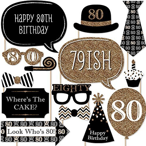 Big Dot of Happiness Adult 80th Birthday - Gold - Birthday Party Photo Booth Props Kit - 20 Count]()