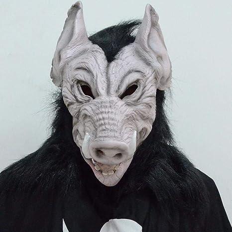 Littlefairy Máscara Halloween,Máscara de látex y jabalí en colmillo Fiesta Halloween Discoteca Carnaval