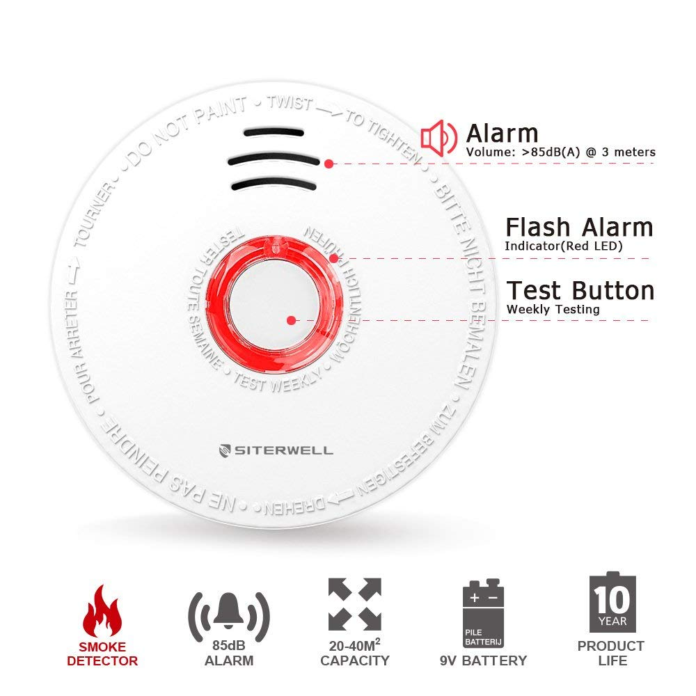 Amazon.com: Siterlink - Set de 2 detectores de humo y alarma ...