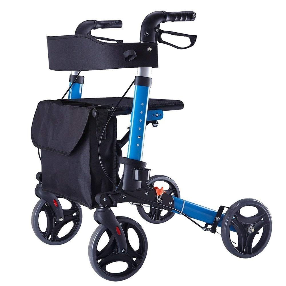 Rollator Walker Under Seat Storage Basket Height Adjustable Roller Double Safety Brake Auxiliary Walking Safety Walker (Color : Blue)