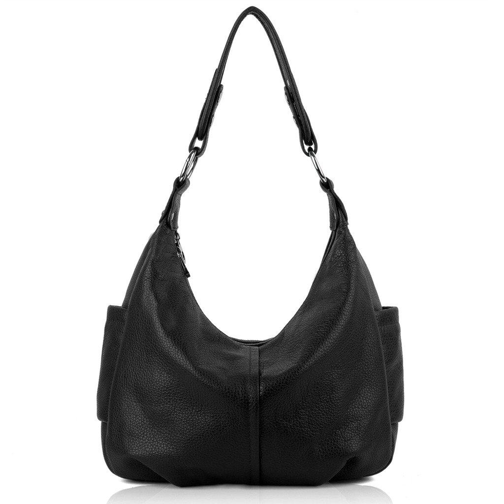 YALUXE Women's Double Zipper Soft Hobo Style Cowhide Leather Purse Shoulder Bag Black