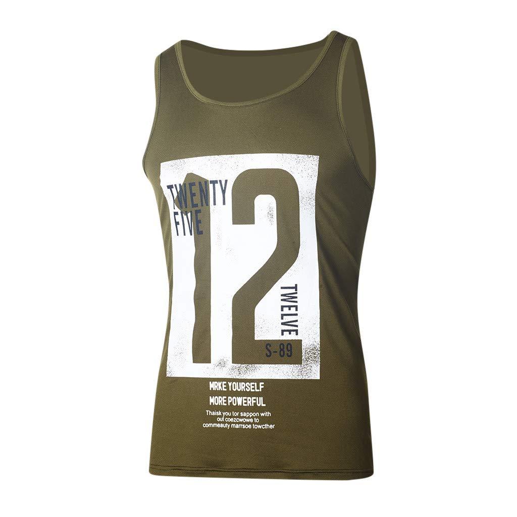 T-Shirts Tops f/ür Herren,Beil/äufiger d/ünner Buchstabe der Art und Weisem/änner druckte /ärmelloses Tr/ägershirt-T-Shirt Spitzenbluse,Slim Fit Hemd Sport Basic Sweatshirt Kapuzenpullover