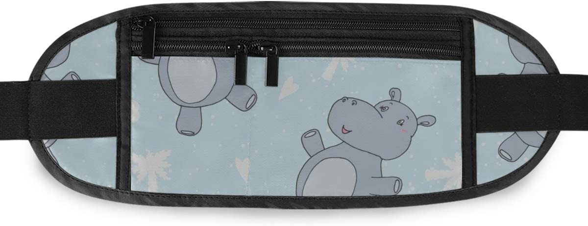 Cute Little Hippo Cartoon Style Running Lumbar Pack For Travel Outdoor Sports Walking Travel Waist Pack,travel Pocket With Adjustable Belt