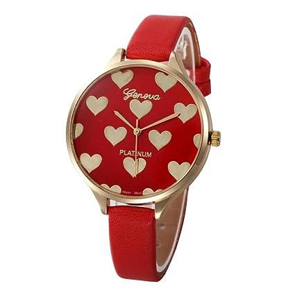 Relojes Mujer,Xinan Reloj de Pulsera Analógico de Cuarzo Cuero Imitación (Rojo)