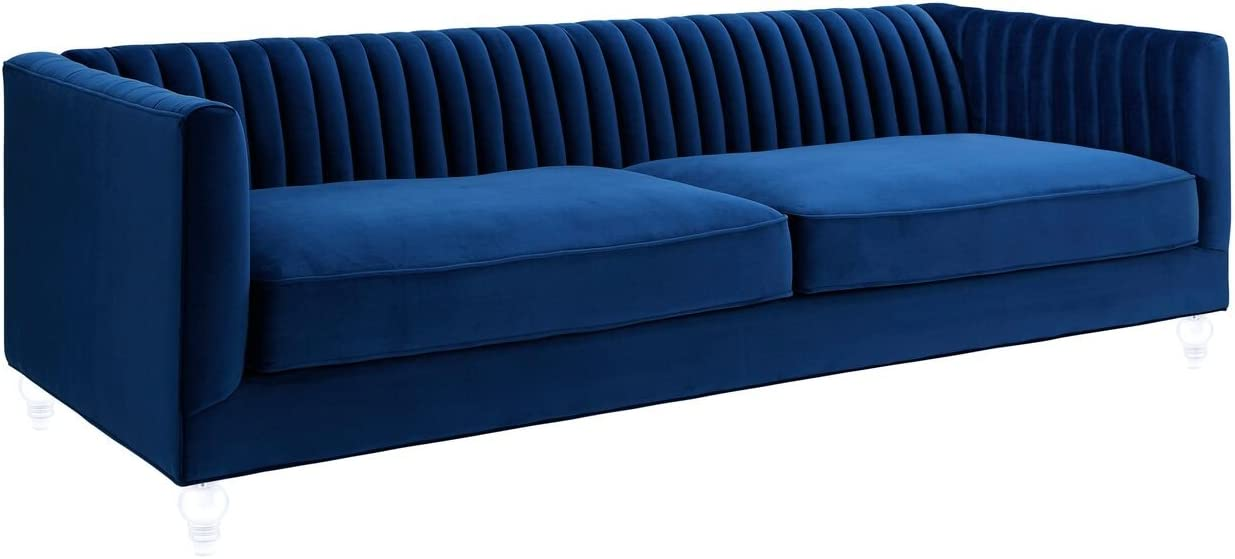 Tov Furniture The Aviator Collection Modern Velvet Upholstered Living Room Sofa with Lucite Legs, Navy
