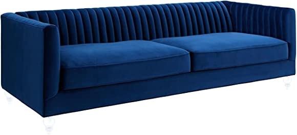 Tov Furniture The Aviator Collection Modern Velvet Upholstered Living Room Sofa