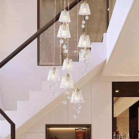 Duplex escalera de caracol largas Araña Villa luces largas colgante for la sala de estar moderna Multi Luces de cristal claro de Pantalla Dormitorio restaurante Lámparas Multi Luces de la lámpara por: