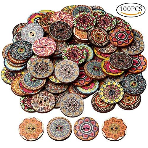 HSAN 100 Pcs Wood Buttons, Mixed 2 Holes Buttons 1 Inch Buttons Vintage Assorted Buttons Decorative Buttons Flower Buttons Round Buttons for DIY Sewing Craft