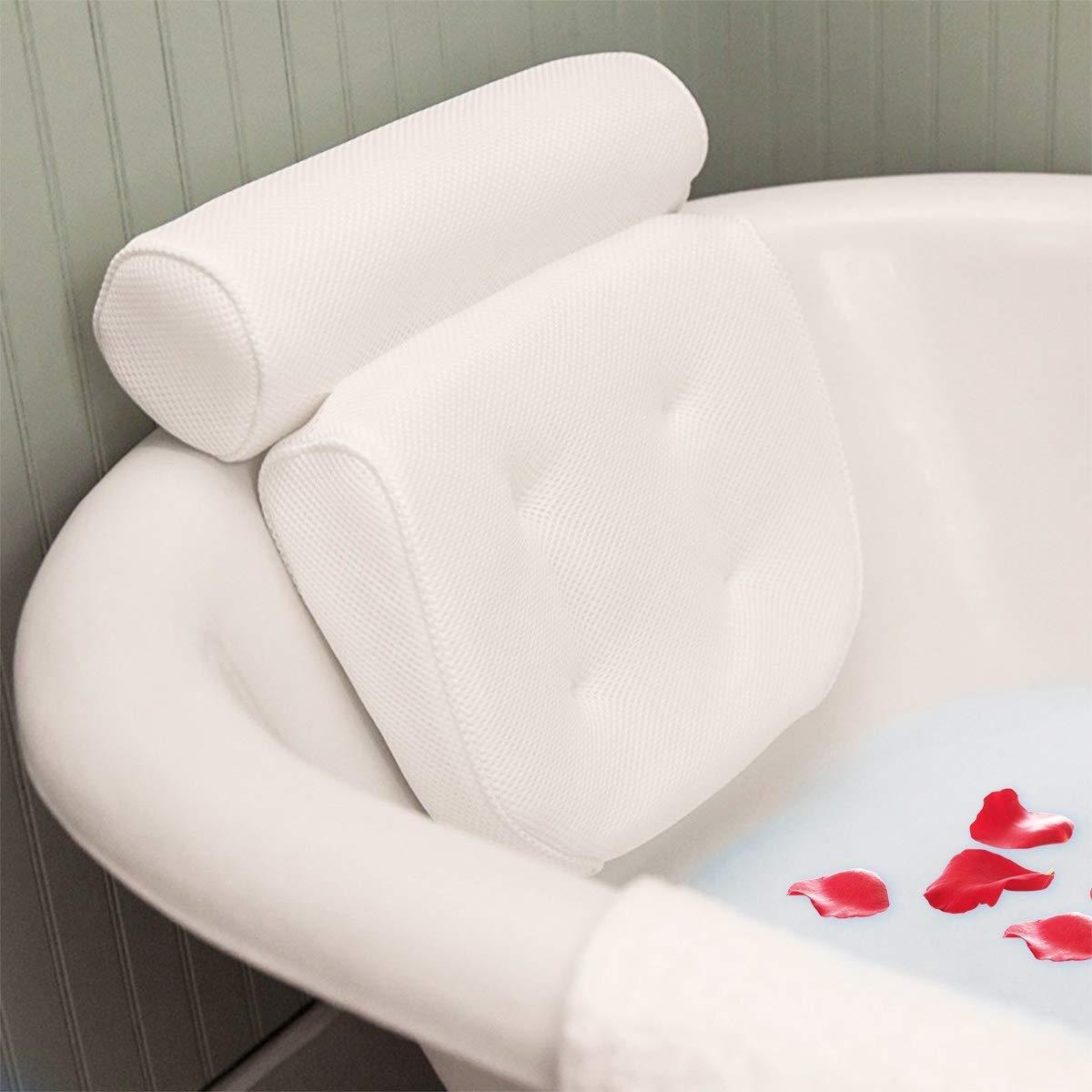 Essort Bath Pillow Spa, Bath Pillow with Suction Cups, Ergonomic Home Spa Headrest for Bathtub, Hot Tub, Jacuzzi, Home Spa (38 X 36 X 8.5 cm) Blue