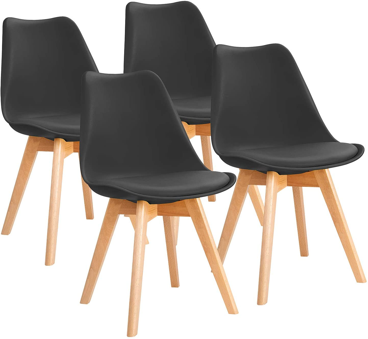 Furniwell Dining Chairs Mid Century Modern DSW Chair Upholstered Side Kitchen Chairs with Wood Leg and Soft Padded Cushion Shell Tulip Chairs For Kitchen, Dining, Bedroom, Living Room Set of 4 Black