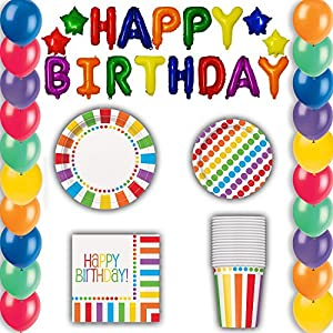 Birthday Party Supplies and Decorations 16 Guest Mega Pack. OVER 175 PIECES - Balloons, Plates, Activities, and MUCH MUCH MORE!!! The Greatest Birthday Party Value Pack in History!!!!!!