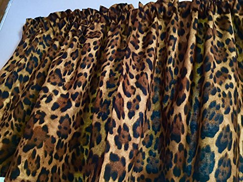 Brown Animal Print Wildlife Cheetah Jaguar Cotton Window Curtain Valance handmade 42''W x 15''L Fabric