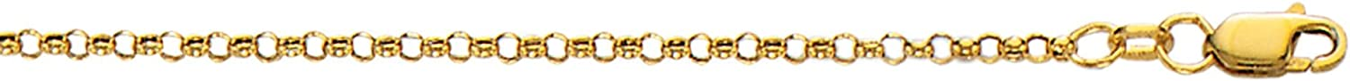 Finejewelers 10 Kt Yellow Gold 10 Inch 2.30mm Bright Cut Rolo Chain Anklet with Lobster Clasp