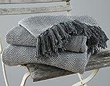 EHC Herringbone King Size 100% Cotton Throws for Sofa Bed Blanket Throw, 220 x 250 cm - Grey
