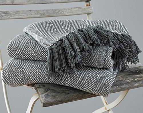 EHC – Manta King size de 220 x 250 cm, 100 % algodon para cama y sofa, color gris y diseno en forma de espi