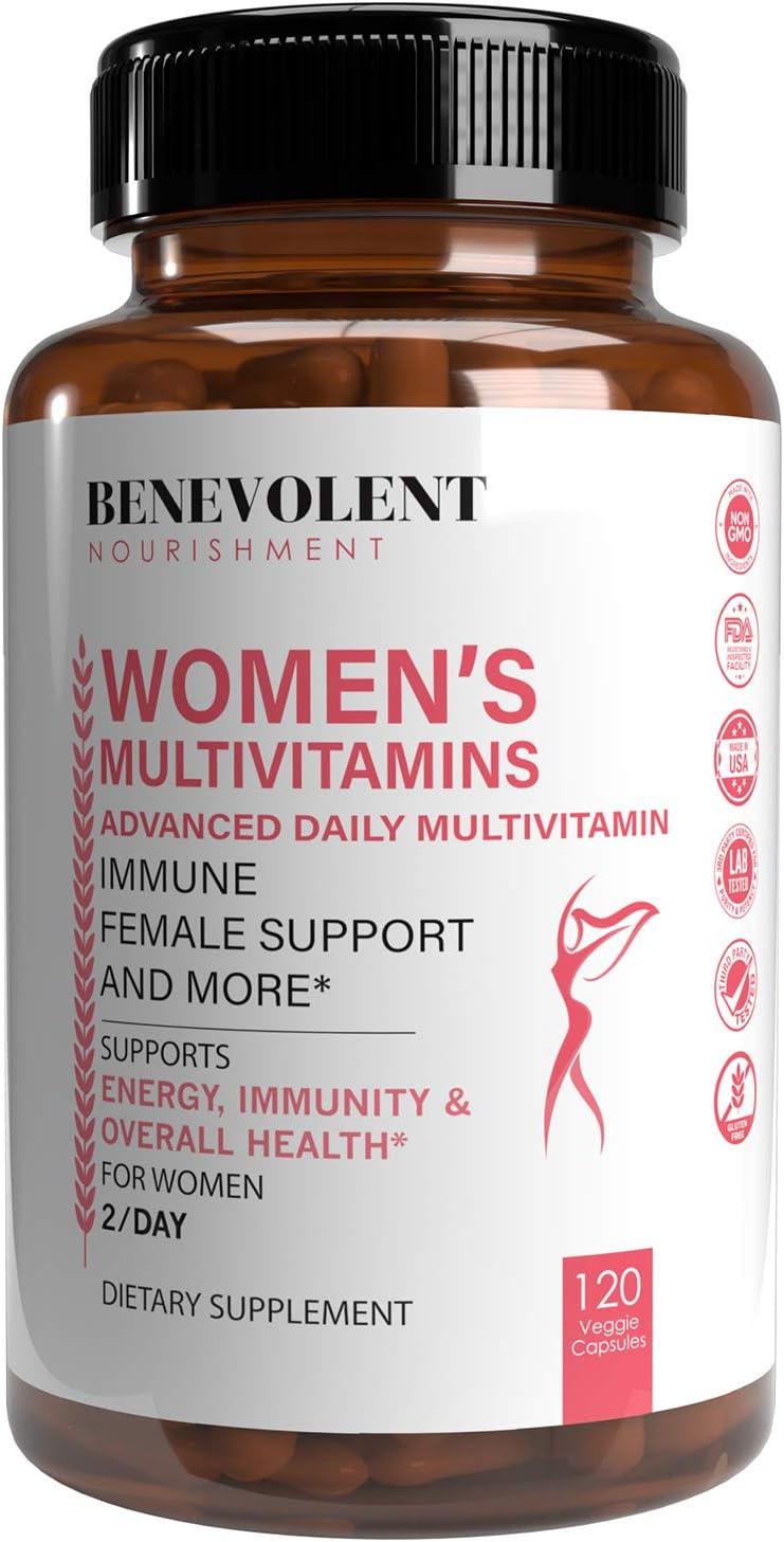 Multivitamin for Women - Supplement for Energy, Immunity, & Female Support - Daily Vitamins for Women with Biotin, Calcium, Magnesium - Non-GMO, Vegetarian Women's Multivitamin - 120 Caps