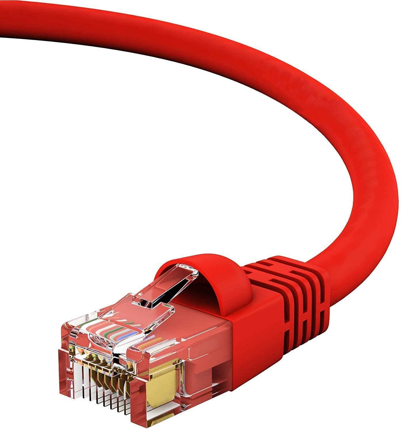GOWOS Cat6 Ethernet Cable 10-Pack - 1.5 FT 550MHz Red 10 Gigabit//Sec High Speed LAN Internet//Patch Cable 24AWG Network Cable with Gold Plated RJ45 Snagless//Molded//Booted Connector