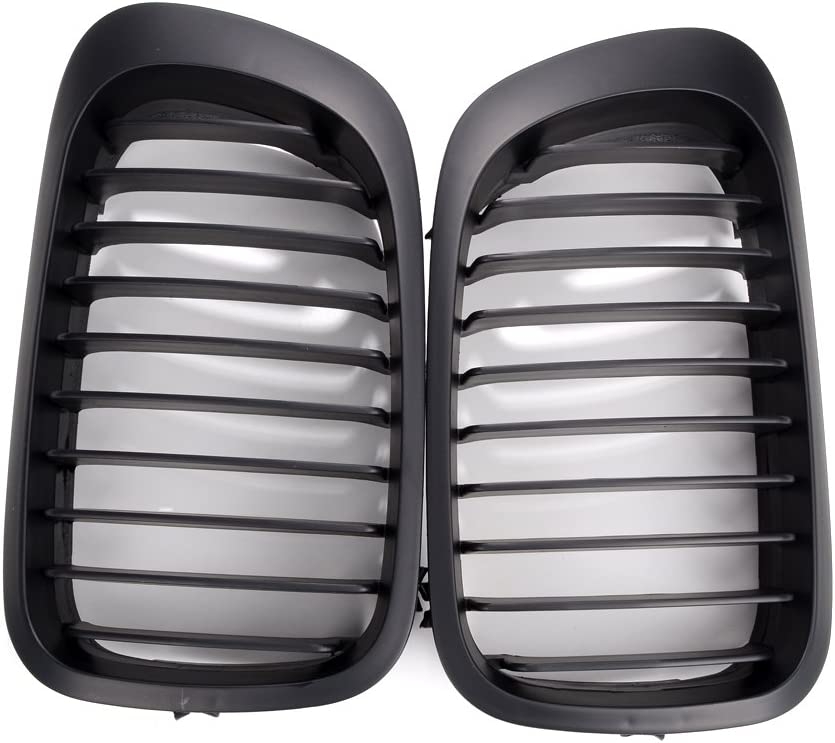 Matte Black Anzio Front LH RH Sport Kidney Grille Compatible with 99-02 E46 2-Door Coupe Cabriolet pre-Facelift Models