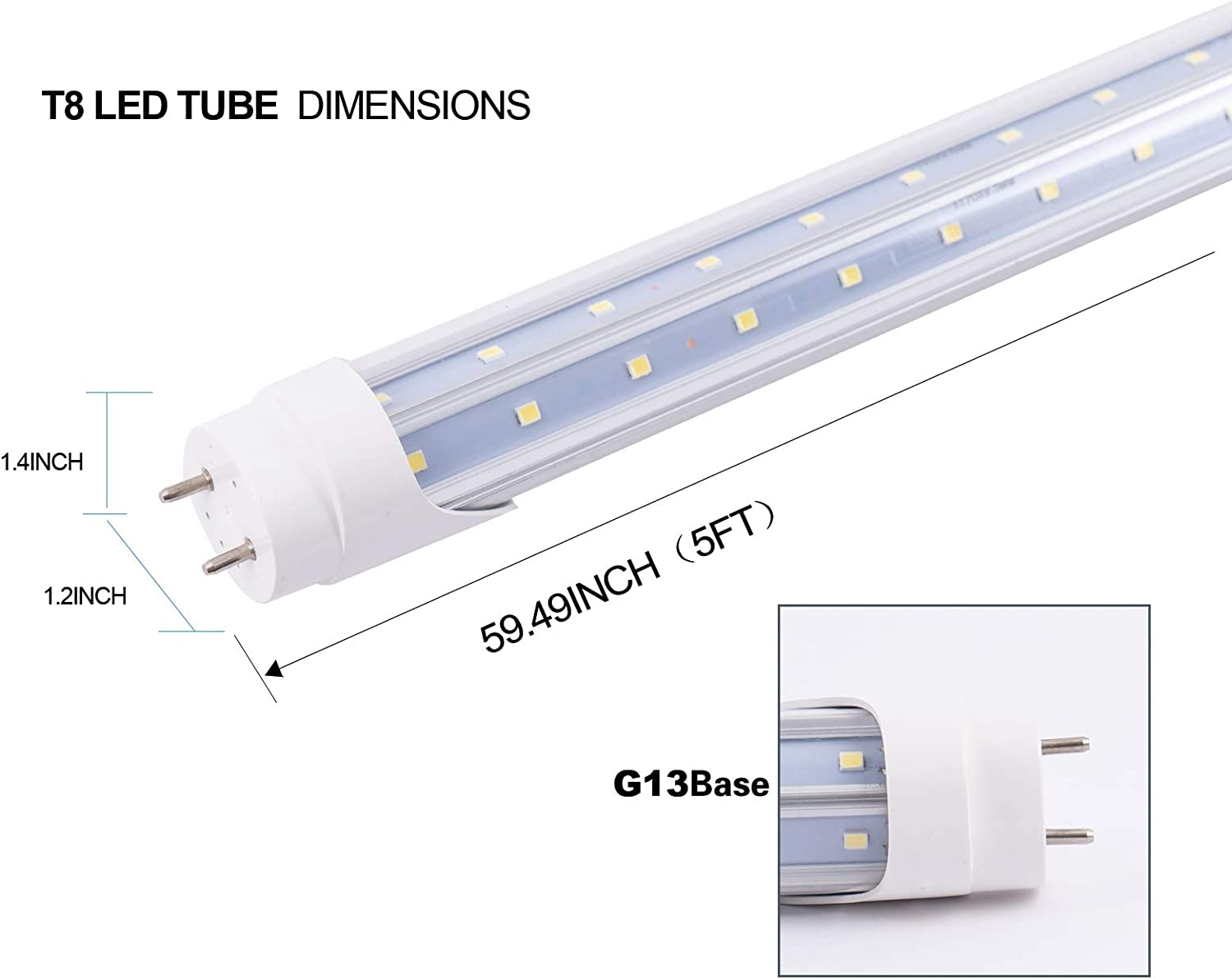 6pcs T8 Led Tube Light 8FT 75W G13 Cap Daylight 6500k V-Shaped Double Row LED T8 Bulb Household Lights Clear Cove 8 Foot Fluorescent Tube lamp Replacement AC100-277V Double-End Powered ETL Listed
