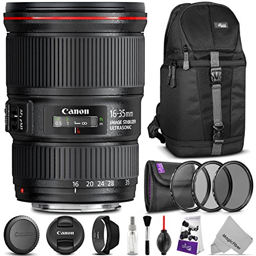 Canon EF 16-35mm f/4L IS USM Lens w/ Advanced Photo and Travel Bundle - Includes: Altura Photo Sling Backpack, UV-CPL-ND4, Camera Cleaning Set by Goja