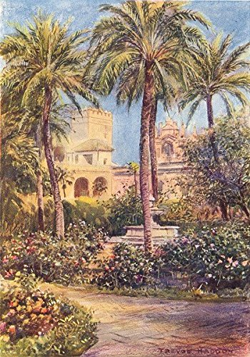 Seville-Gardens of the Alcazar 1908 old antique vintage print picture SPAIN