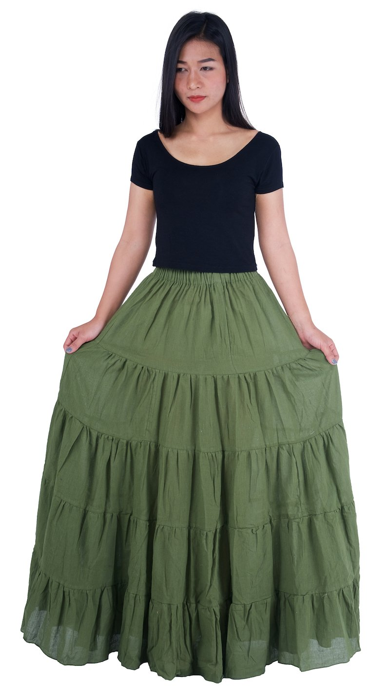 Lannaclothesdesign Women's Cotton Long Ruffle Full Circle Long Skirts Maxi Skirt One Size Green