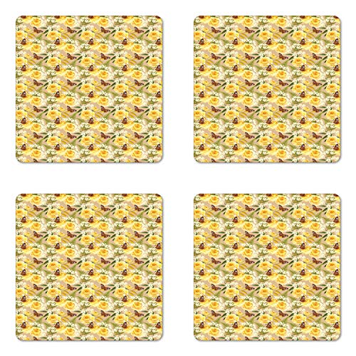 - Lunarable Retro Coaster Set of Four, Elderberry Yellow Roses and Butterflies Romantic Nostalgic Bouquet with Fern Leaf, Square Hardboard Gloss Coasters for Drinks, Multicolor