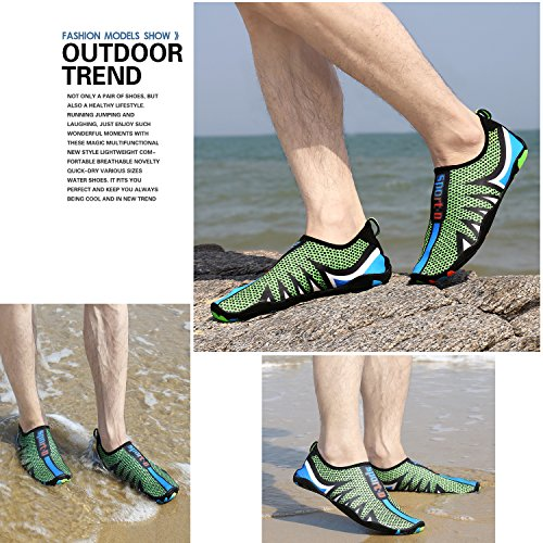 Quick Men's Women's Cool Aqua on Lightweight Sports And Athletic drying Slip Green Sneaker Water Shoes Nik A4Yqtq5w