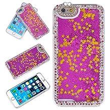 Yoption Liquid Case for iPhone 6 6s 4.7,Liquid Floating Handmade Quicksand Shiny Bling Crystal Diamond Rhinestone Stars Sparkly Glitter Clear PC Hard Case Cover for iPhone 6 6s 4.7(Diamond Fushia)