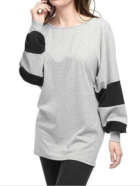 Primavera y Otoño Mujeres Tops Casual Cuello Redondo Camisetas Sudaderas tee Moda Patchwork Murciélago Mangas T-Shirt Jumpers Suéter Blusa: Amazon.es: Ropa ...