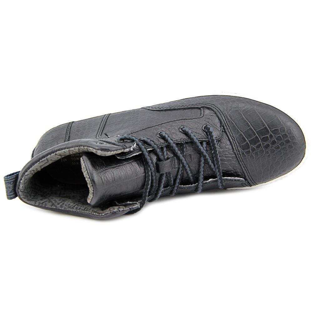 e066d0baf081e TOMS Women's Black Leather Croc Embos Women's Camila Highs 10006259