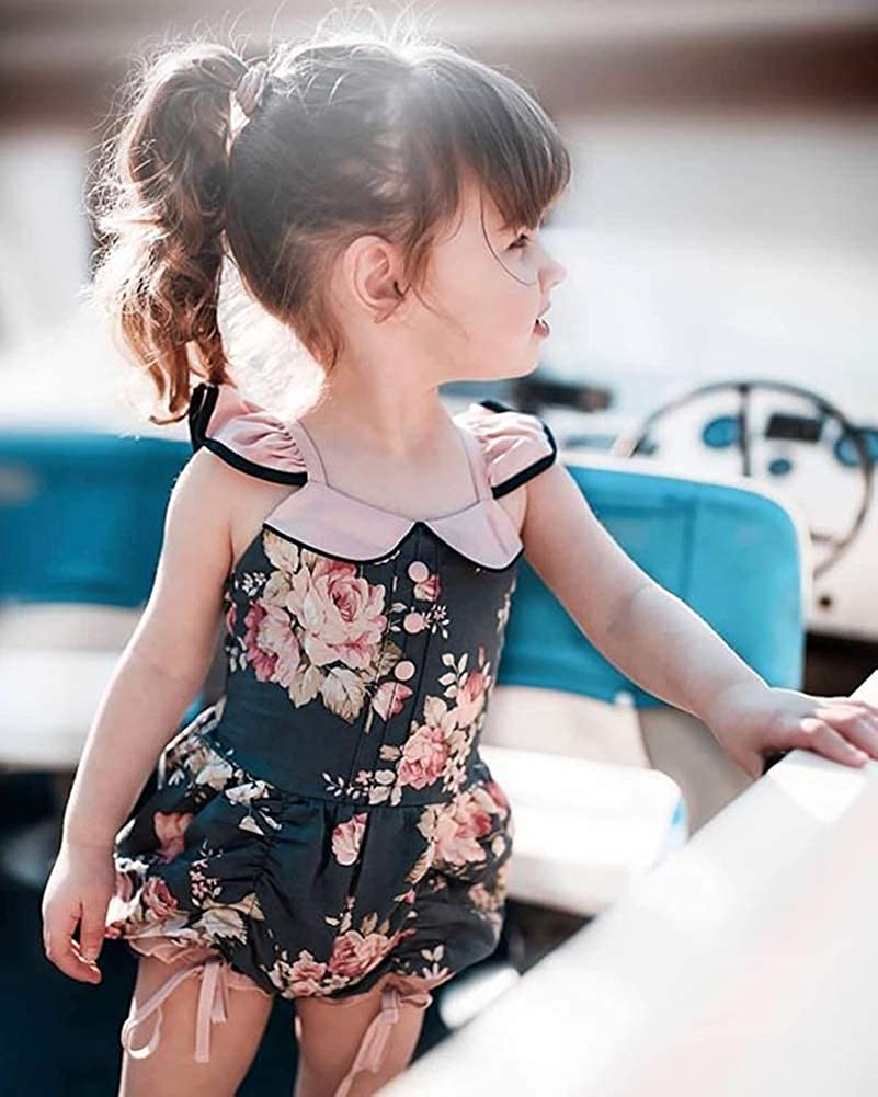 Qiylii Summer Kids Baby Girls Sleeveless Ruffle Romper Jumpsuit Toddler Floral Printed Shorts Outfit Clothes