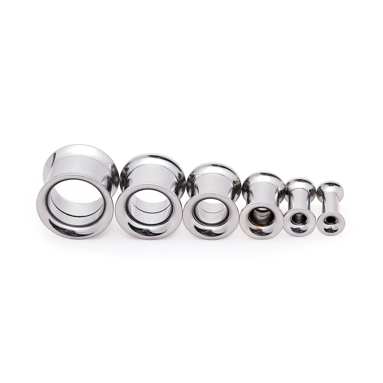 YC_jewelry 6 Pairs 3mm-12mm Stainless Steel Men Women Ears Stretcher Expander Earrings Screwed Ear Gauges Tunnels Plugs LTD UK_B06XKWDTC9