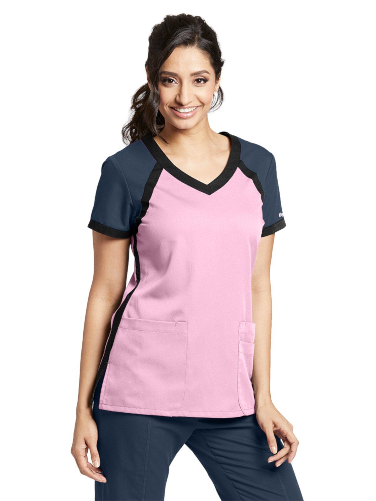 Grey's Anatomy Active 41435 Color Block V-Neck Top Lilac Pearl/Steel/Black XL