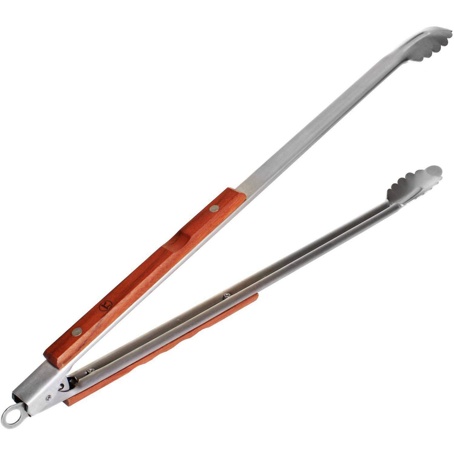 Akkapeary Outset Extra Long Stainless Steel Barbecue BBQ Tongs with Fine Rosewood Handles 21'' Silver Easy Storage Keeping The Griller Away from The Heat Practical Dependable Locking