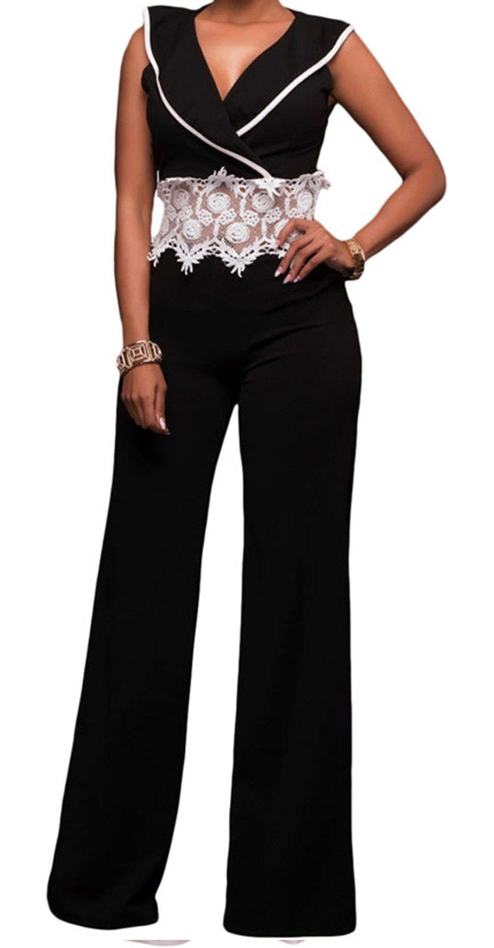 YFFaye Women's New Fashion Vogue Contrast Lace Waist Insert Black Wide Leg Jumpsuit Size L by YFFaye