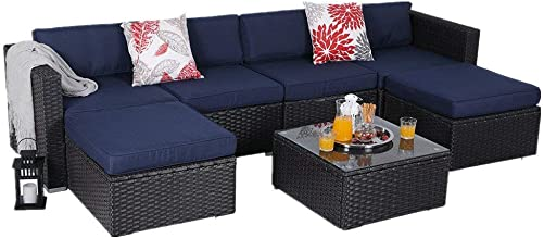 PHI VILLA Outdoor Sectional Furniture- All Weather Patio Rattan Sofa Set 7-Piece, Blue