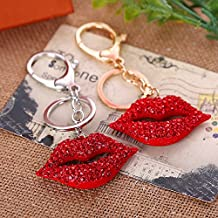 Jzone Bling Car Decor Red Rhinestone Kiss Lips Keychain, Bling Key Chain, Women Purse Charm Bling, Crystal Key Ring Bag Charm Jewelry, Red Diamond Keyring (Silver&Gold)
