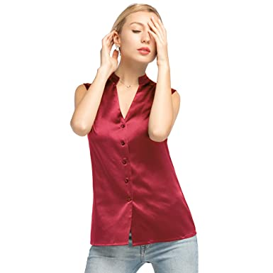 4014c4f13f6bb4 LILYSILK Silk Shirts for Women and Ladies Sleeveless Basic V Neckline 19MM  Face Framing Buttons Top Summer  Amazon.co.uk  Clothing